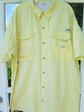 Columbia PFG Men's Short Sleeve Cotton Solid Yellow Vented Fishing Shirt XXL 2XL