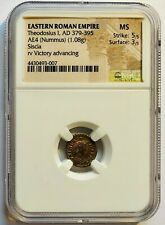 Theodosius I (AD 379-396) Eastern Empire - AE4 Nummus NGC MS !! Luster !