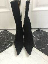 Authentic Michael Perry Black Suede Mid Calf Point Toe Boot Size 40 (US 9)