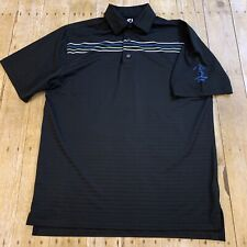 FootJoy Fj Men's Black Striped Polo Golf Shirt Medium