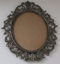 Vtg Ornate Oval Domed Convex Glass Pewter Silver Tone Picture Frame Wall Hanging