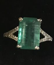 3.25CT Natural Green Colombian Emerald & Diamonds 14K White Gold Ring