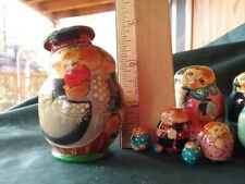 """Rare Vintage Russian, (10) Painted Nesting Character Dolls at 2 3/4"""" Tall Signed"""