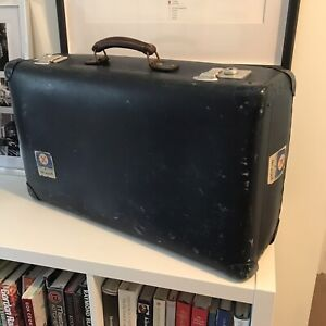 Vintage Blue GLOBE-TROTTER Suitcase Trunk 61x38x22cm Chrome Locks Shop Display