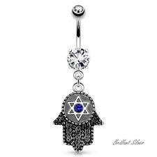 Piercing de ombligo Plata Vintage Fatima Hamsa hexagram Cristales Blanco Azul