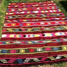 Handmade Anatolian Kilim Rug Red Geometric Area Flat Slit Weave Wool 7' x 5'