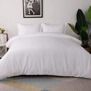 Vailge 3-Piece King Duvet Cover Set Washed Microfiber Bedding White Ultra Soft
