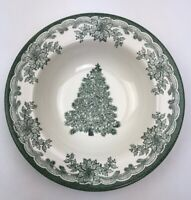"""Staffordshire Engravings Green Yuletide 8.5"""" Cereal Bowl Christmas Tree Holly"""