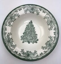 "Staffordshire Engravings Green Yuletide 8.5"" Cereal Bowl Christmas Tree Holly"