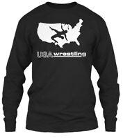 Usa Wrestling Graphic With Sayings - Gildan Long Sleeve Tee T-Shirt