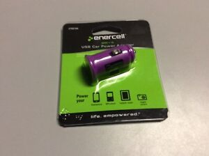 Enercell 5VDC-1A USB Car Power Adapter Purple  -17
