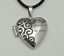 PICTURE LOCKET NECKLACE ALWAYS IN MY HEART MEMORIAL KEEPSAKE PHOTO HEART LOCKET