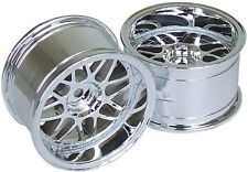 RC Car 1/10  RIMS  WHEELS Package KAWADA Mesh WIDE  32mm CHROME   *SET OF 2*