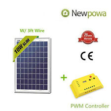 Newpowa 10W Watt 12V Solar Panel + PWM 10A Charge Controller Battery Charger Kit