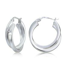 Sterling Silver Square-Tube Double Twisted 20mm Round Hoop Earrings
