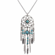 New Womens Turquoise Feather Dream Catcher Pendant Long Sweater Chain Necklace
