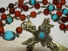 *ReLiGiOuS RoSaRy* necklace* Vintage Bronze Cross* Gemstone Beads* Handmade