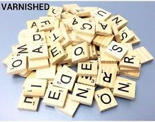 100  WOOD SCRABBLE TILES WOODEN BLACK LETTERS BOARD CRAFTS GENUINE