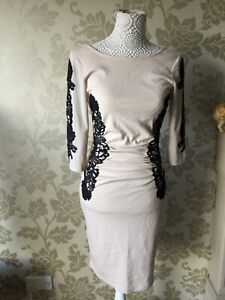 Lipsy Sexy Bodycon Dress Sz 10 Nude Lace Silhouette Long Sleeve Flattering Party
