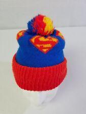 7c8f0547778b8 Vintage Superman Pom Pom Winter Beanie Stocking Hat Knit Cap USA made rare