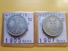 2 LIRE 1905 e 1907 AQUILA SABAUDA VITT. EMANUELE III argento