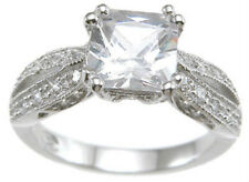 1.5 ct Antique design Engagement Ring 925 Sterling Silver Platinum FN  Size 8