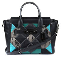 Coach Women's Black Turquoise Canyon Quilt Swagger 27 Leather Carryall Purse Ba