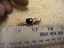 Vintage  Mens Tie Clip, GoldColored Metal with Black  Stone , No markings