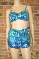 Vtg 50s Blue Floral Hawaiian Tropical HIGH WAIST 2pc BATHING Sun Swimsuit Bikini