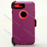 iPhone 7 Plus & iPhone 8 Plus Defender Hard Case w/Holster Belt Clip Purple Pink