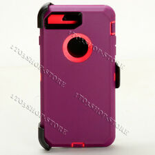 iPhone 7 Plus & iPhone 8 Plus Defender Hard Case w/Holster Belt Clip Purple Pink