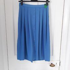 Vtg St Michael 80's Cornflower blue Pleated Button up skirt elasticated Sz 12