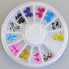 12pc Rhinestone 3D Nail Art Fashion Diamante Craft Colourful Bold Fashion Bows