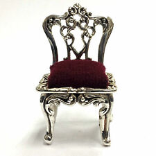 COLLECTIBLE VICTORIAN STYLE DOLLHOUSE CHAIR PIN CUSHION 925 STERLING SILVER