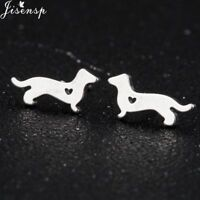 Dachshund Stole my Heart Sausage Dog Stud Earrings Silver/Gold/Rose Puppy Ladies