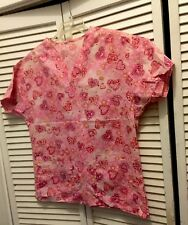 Women's Small Scrub Top Shirt Pink Red White Hearts Valentines Medical Uniform