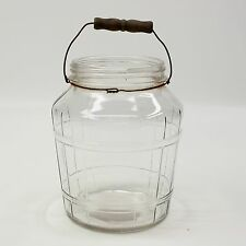 Vtg General Store Counter Display Glass Jar Pickles Wire Bale Wire Wood Handle