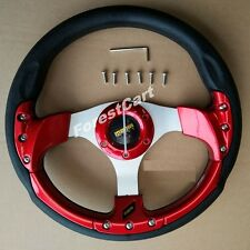 "12.5"" Golf Cart Steering Wheel w/ Horn Switch,Red 6 Hole,EZGO Club Car Boat UTV"