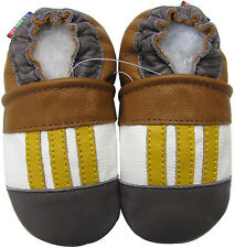 carozoo yellow stripe 3-4y soft sole leather toddler shoes