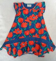 NEXT Girls Navy Blue & Red Poppy Floral Dress Broderie Anglaise Trim 2-3 years