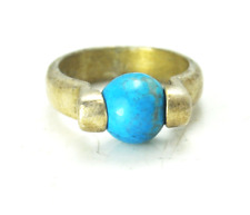 Sterling Silver Dyed Howlite Turquoise Spinner Ball Ring 8mm Size 4-1/2