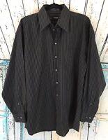 Claiborne Button Down Shirt Men's Sz L 16 34 / 35 Wrinkle Free Black Gray Stripe