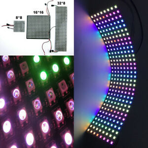 WS2812B LED Flexible Panel Matrix Screen 5050 RGB Addressable 64 256 Pixel DC5V