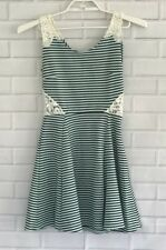 Poof Couture Fit Flare Dress Black Green Striped Knit Crochet Cut Out Sides Sz S