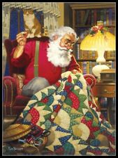 Quilting Santa - DIY Chart Counted Cross Stitch Patterns Needlework Christmas