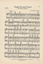 """Vtg UNIVERSITY OF KANSAS song sheet - """"STAND UP AND CHEER!"""" - LAWRENCE - C 1936"""