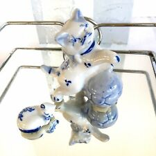 2 Porcelain Kitty Cats Figurines Collectibles White Blue Tiny Cat Dollhouse Size