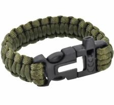 Survival Paracord Bracelet Whistle Gear Flint Fire Starter Scraper Kit-DeepGreen