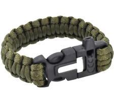 Survival Paracord Bracelet Whistle Gear Flint Fire Starter Scraper Kit-DeepGreen