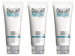 3 x Clearskin Professional White Clay Cleanser, Scrub and Face Mask 3 x 75 ml